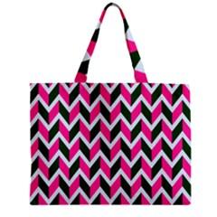 Chevron Pink Green Retro Mini Tote Bag