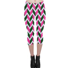 Chevron Pink Green Retro Capri Leggings