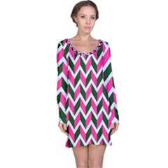 Chevron Pink Green Retro Long Sleeve Nightdress