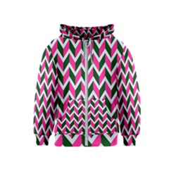 Chevron Pink Green Retro Kids  Zipper Hoodie