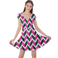 Chevron Pink Green Retro Cap Sleeve Dress