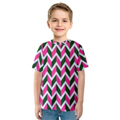 Chevron Pink Green Retro Kids  Sport Mesh Tee
