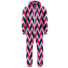 Chevron Pink Green Retro Hooded Jumpsuit (men)