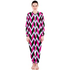 Chevron Pink Green Retro Onepiece Jumpsuit (ladies)