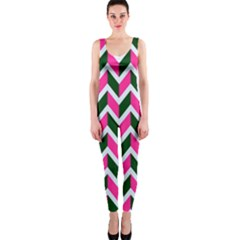Chevron Pink Green Retro One Piece Catsuit