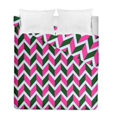 Chevron Pink Green Retro Duvet Cover Double Side (full/ Double Size)