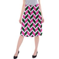 Chevron Pink Green Retro Midi Beach Skirt