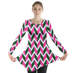 Chevron Pink Green Retro Long Sleeve Tunic