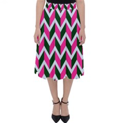 Chevron Pink Green Retro Folding Skater Skirt