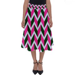 Chevron Pink Green Retro Perfect Length Midi Skirt
