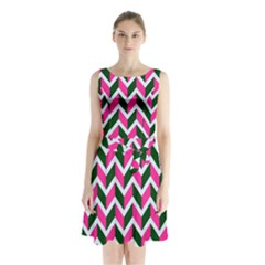 Chevron Pink Green Retro Sleeveless Waist Tie Chiffon Dress