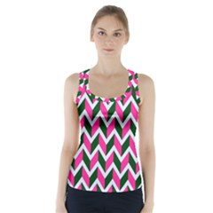 Chevron Pink Green Retro Racer Back Sports Top