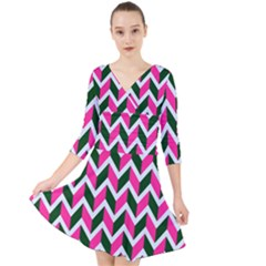 Chevron Pink Green Retro Quarter Sleeve Front Wrap Dress