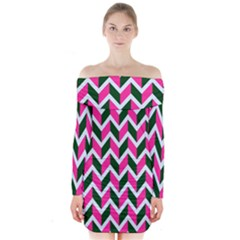 Chevron Pink Green Retro Long Sleeve Off Shoulder Dress