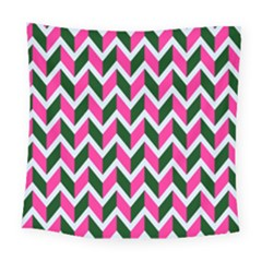 Chevron Pink Green Retro Square Tapestry (large)