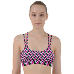 Chevron Pink Green Retro Line Them Up Sports Bra
