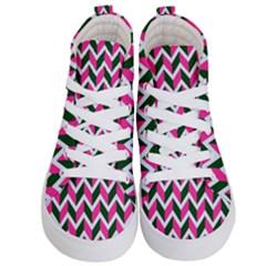 Chevron Pink Green Retro Kid s Hi Top Skate Sneakers