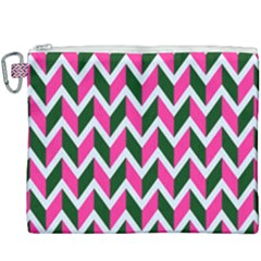 Chevron Pink Green Retro Canvas Cosmetic Bag (xxxl)