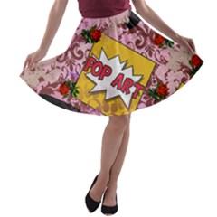 Red Retro Pop A Line Skater Skirt