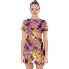 Red Retro Pop Drop Hem Mini Chiffon Dress