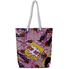 Red Retro Pop Full Print Rope Handle Tote (small)