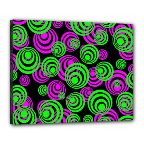 Neon Green And Pink Circles Canvas 20  X 16