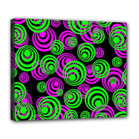Neon Green And Pink Circles Deluxe Canvas 24  X 20