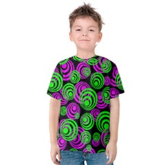 Neon Green And Pink Circles Kids  Cotton Tee