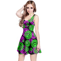 Neon Green And Pink Circles Reversible Sleeveless Dress