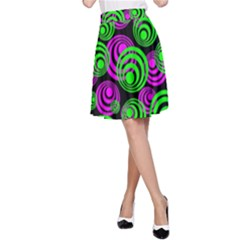 Neon Green And Pink Circles A Line Skirt