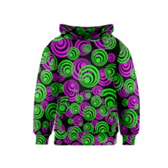 Neon Green And Pink Circles Kids  Pullover Hoodie