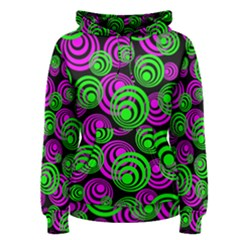 Neon Green And Pink Circles Women s Pullover Hoodie