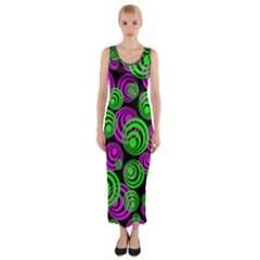 Neon Green And Pink Circles Fitted Maxi Dress