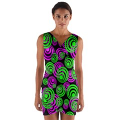 Neon Green And Pink Circles Wrap Front Bodycon Dress