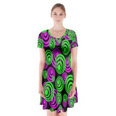 Neon Green And Pink Circles Short Sleeve V Neck Flare Dress