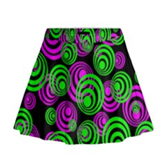 Neon Green And Pink Circles Mini Flare Skirt