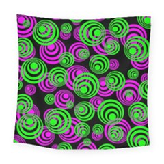 Neon Green And Pink Circles Square Tapestry (large)