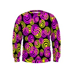 Neon Yellow And Hot Pink Circles Kids  Sweatshirt