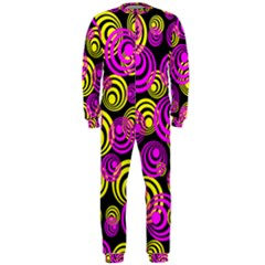 Neon Yellow And Hot Pink Circles Onepiece Jumpsuit (men)