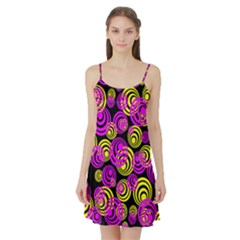 Neon Yellow And Hot Pink Circles Satin Night Slip