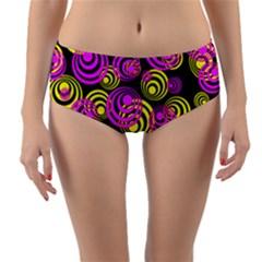 Neon Yellow And Hot Pink Circles Reversible Mid Waist Bikini Bottoms