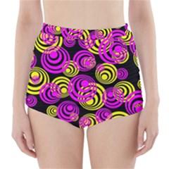 Neon Yellow And Hot Pink Circles High Waisted Bikini Bottoms