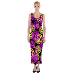Neon Yellow And Hot Pink Circles Fitted Maxi Dress