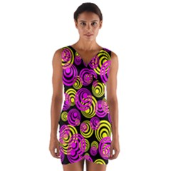 Neon Yellow And Hot Pink Circles Wrap Front Bodycon Dress