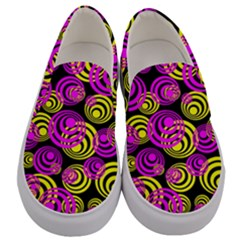 Neon Yellow And Hot Pink Circles Men s Canvas Slip Ons