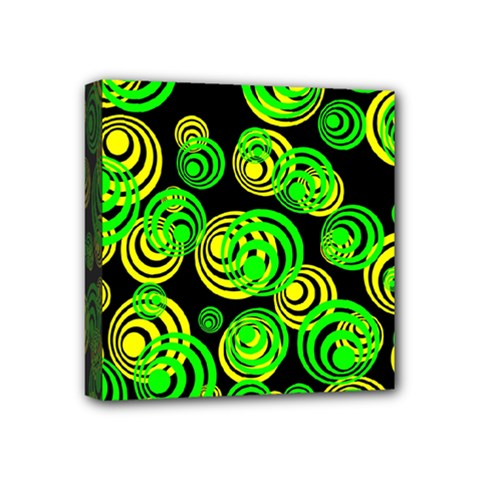 Neon Yellow And Green Circles On Black Mini Canvas 4  X 4