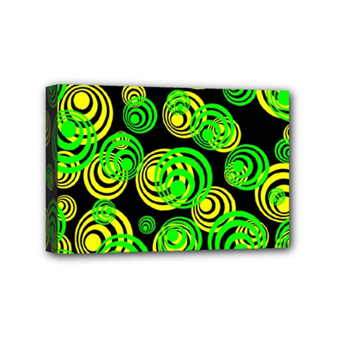 Neon Yellow And Green Circles On Black Mini Canvas 6  X 4