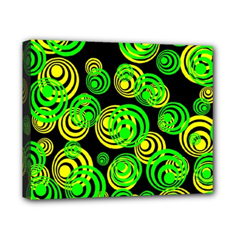 Neon Yellow And Green Circles On Black Canvas 10  X 8