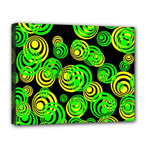 Neon Yellow And Green Circles On Black Canvas 14  X 11