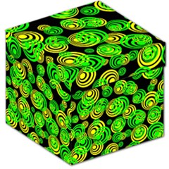 Neon Yellow And Green Circles On Black Storage Stool 12